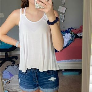 Monteau White Tank Top with Lace on the back
